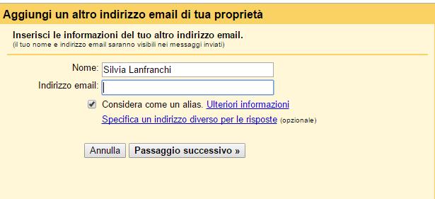 Aggiungi un altro indirizzo email di tua proprietà