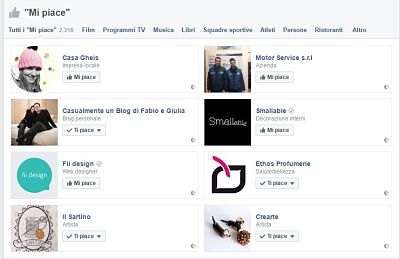 screensshot facebook like di un profilo