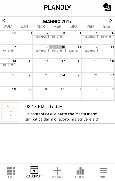 il calendario delle programmazioni di Planoly