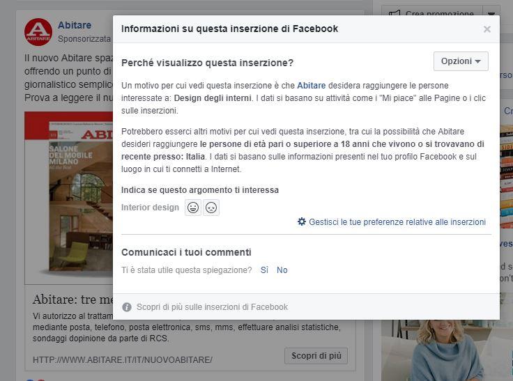 targetizzazione ads facebook