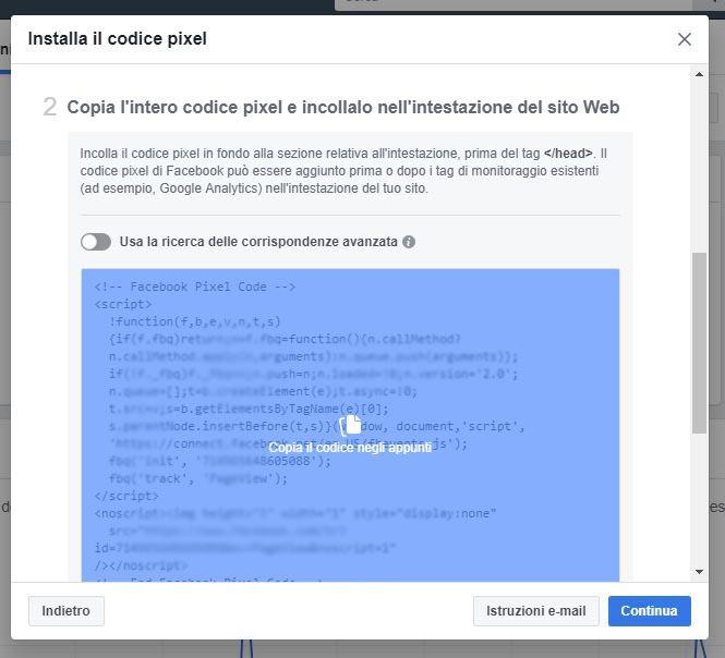 codice pixel facebook