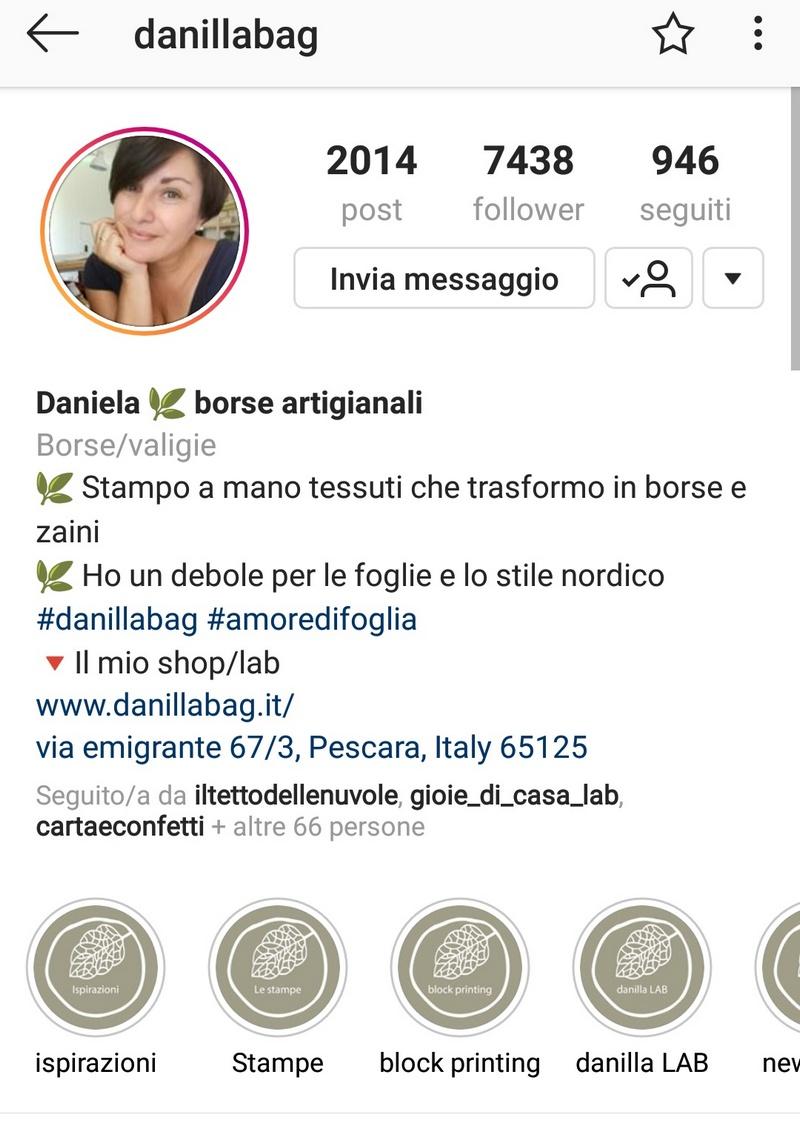profilo Instagram @danillabag settembre 2018