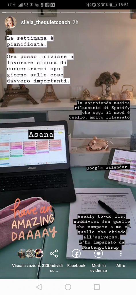 Foto Instagram di come lavoro durante la pianificazione